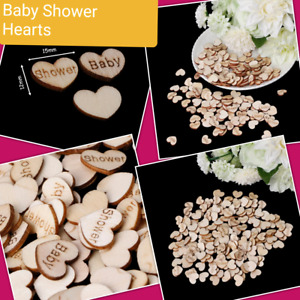 50 x Wooden Baby Shower Heart Table Decor Vintage Rustic Wedding, Paper Confetti