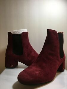 Coach Womens Tia Suede Bootie Pull On Ankle Boots Wine 8B ~ Only Worn Once