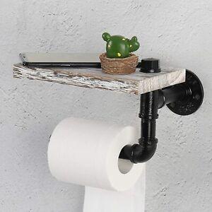Pipe Toilet Paper Holder Tissue Roller Dispenser Rack Wall Mounted Wood Shelf
