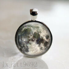 Full Moon Space Lunar Image Necklace Pendant and 18in Chain Silver Jewelry