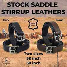 "Stirrup Leathers Straps Stock Western Black Brown 58"" 60""Adult New"