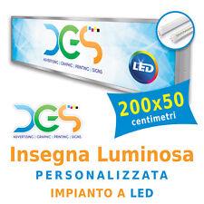 Insegna Luminosa Monofacciale 200x50 centimetri personalizzata con impianto LED