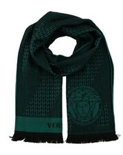 NEW AUTH VERSACE 100% WOOL MEDUSA MEN'S GREEN BLACK KNIT SCARF Made in Italy