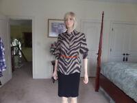 Ralph Lauren 100% Silk Brown/Beige Print Button Up Blouse Size 14P
