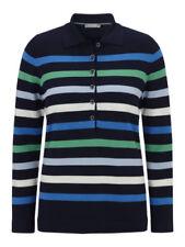 Gestreifte Damen-Pullover & -Strickware mit Polokragen in Übergröße