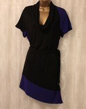Karen Millen Cowl Colour Block Drape Slinky Jersey Cocktail Party Dress 10 38