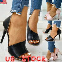 Womens Sandals Stiletto High Heels Pumps Ladies Peep Toe Party Flip Flops Shoes
