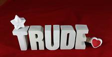 Beton, Steinguss Buchstaben 3D Deko Namen TRUDE als Geschenk verpackt!