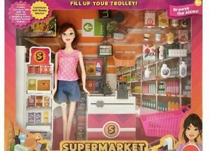 Supermarket Shop Play Set Doll And Trolley Barbie Compatible NEW 2021