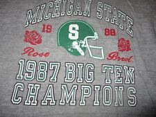 Vintage 1987 MICHIGAN STATE FOOTBALL Big Ten Champions Rose Bowl T Shirt XL