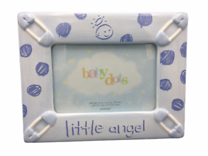 Amscan Baby Dots Little Angel Blue Ceramic 4 x 6 Baby Boy Picture Frame
