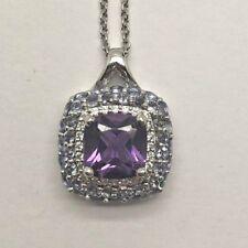 "Sterling Silver 925 Purple Amethyst CZ Pave Tanzanite Cluster Split Necklace 18"""