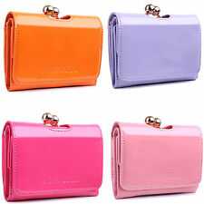 Ladies Designer Small Purse Patent Leather Ball Clasp Matinee Wallet Clutch