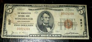 New Hampshire, Winchester National Bank $5 ,1929 , type one , FINE