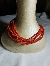 Genuine Natural Red Coral 5 strand torsade bead necklace