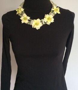 Rosa Templin Collier Kette Blüten Gelb