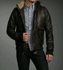ABERCROMBIE & FITCH ROLLINS LEATHER BOMBER JACKET M AVIATOR FLIGHT A2 G1