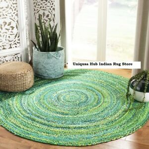 Rug 100% Natural Cotton 4x4 Feet Handmade Reversible Carpet Rustic Look Area Rug