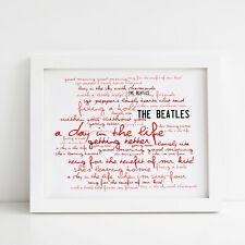 The Beatles Poster, Sgt Pepper, Framed Original Art, Album Print Lyrics Gift