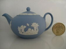 RARE WEDGWOOD CLASSIC BLUE JASPER MINIATURE TINY DOLLS HOUSE TEA SET TEAPOT
