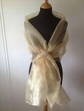 GOLD CRYSTAL ORGANZA WRAP SHAWL, WEDDING,BRIDE PROM CRUISE*free samples*