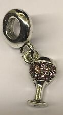Wine Glass Pale Pink Charm For Bracelets Silver Plated
