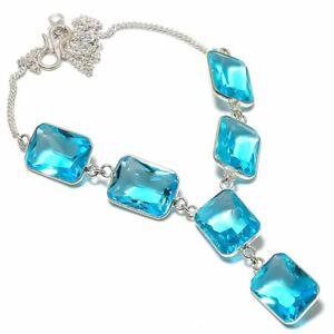 "Swiss Blue Topaz Ethnic Handmade 925 Sterling Silver Jewelry Necklace 18"""