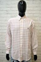 Camicia Bianca Uomo RALPH LAUREN Taglia XL Maglia Polo Shirt Man Cotone Casual