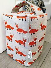 Fox Fabric Door Stop Wedge Linen Feel Unfilled Handmade Stopper Gift idea