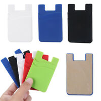 Silicone Credit Card Holder Pocket Sticker Adhesive Pouch Case For Cell Phone-