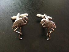 Flamingo Pt29 Silver Emblem on a Pair Of Cufflinks weddings birthday