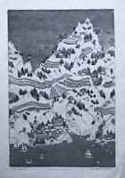 Karin Goebel Aquatinta Radierung China Landschaft mit Schiffen Tempeln Pagoden