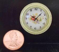 NEW! SHABBY-CHIC MODERN DOLLHOUSE MINIATURE~ ANTIQUED YELLOW WALL CLOCK Ret.$25