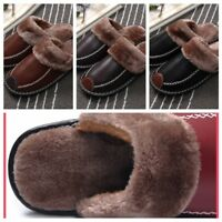 Men's Home Slippers Winter Warm Leather Indoor Flats Comfy Close Toe House Shoes