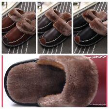 Мужские домашние тапочки зимние теплые кожа в помещении квартир удобные близко носок дом обувь