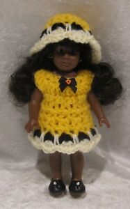 Made to fit  Mini AMERICAN GIRL #04 Crochet Dress & Hat,   Handmade doll clothes