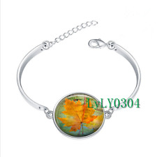Canadian Maple Leaf glass cabochon Tibet silver bangle bracelets wholesale