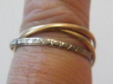 Bague Alliance 3 anneaux or 18 cts /750 tête d'aigle et ciselé étoiles.