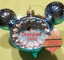 "2020 Disneyland Hotel the ""Happiest Stay on Earth"" Blown Glass Ornament."