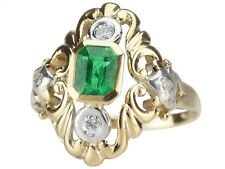 Historismus 585 Gold 0,60 ct Kolumbianischer Smaragd 0,15 ct Brillant Damen Ring