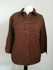 Roman Originals size large brown long sleeve crinkle stretch top blouse