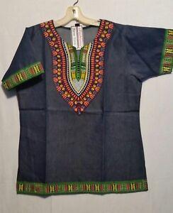Men Dashiki Print Denim Top Shirt African Hippie Blouse Purple M L XL 1X 2X 3X