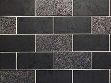 Black White Grey Tile Effect Wallpaper Brick Glitter Luxury Washable Vinyl