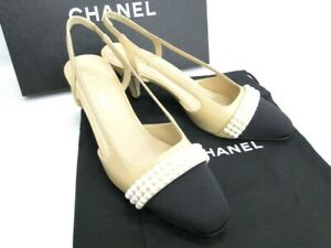 NEW CHANEL Heel Imitation Pearl Black Beige Size 37C Leather Italy 13170413300 P