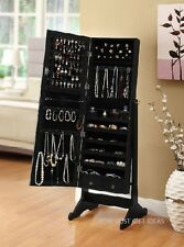 Full Length Floor Mirror with Jewelry Storage Black Cheval Armoire Cabinet Case