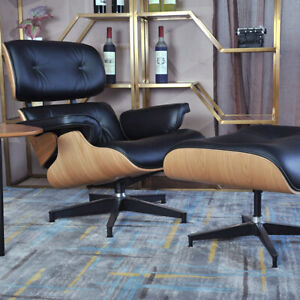 Ashwood Black EAMES-STYLE Lounge Chair and Ottoman 100% Genuine Leather Armchair