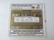 Pioneer 12 x 12 white memory book scrapbook refill pages & vinyl protectors