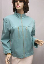 St John Knit SPORT NWOT Light Blue Cotton Jacket SZ L 10 12