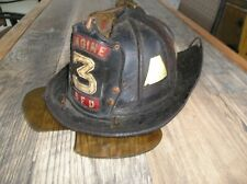 1970's Cairn's Leather New Yorker Fire Helmet Eng. Co. 3 Boston MA