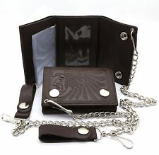 Trifold Brown Leather Biker Chain Wallet with an Embossed Native Design